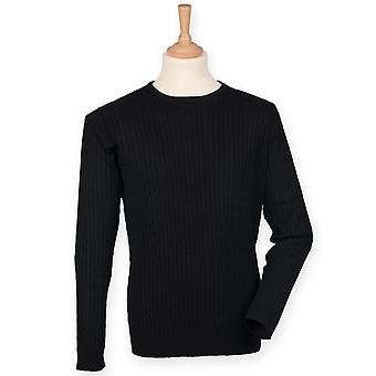 Front Row Mens Cotton Rich Cable Knit Sweater/Jumper