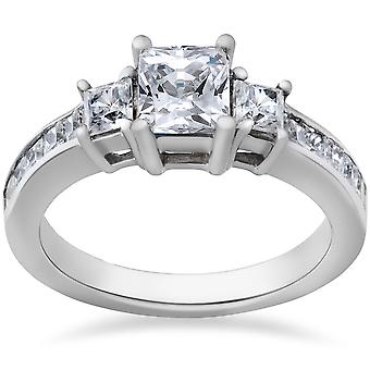 Princess Cut Diamond Engagement Ring 3-Stone 1 1 / 2ct 14 k White Gold