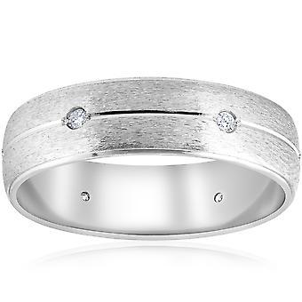 Mens 14K White Gold Brushed Diamond Wedding Band Ring