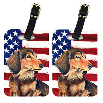 Pair of USA American Flag with Dachshund Luggage Tags