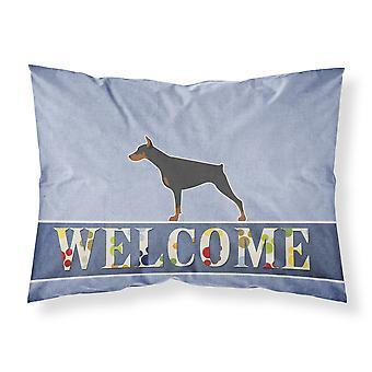 Doberman Pinscher tela ¡Bienvenido funda de almohada estándar