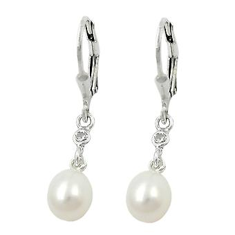 Brisur, Pearl with cubic zirconia, Silver 925
