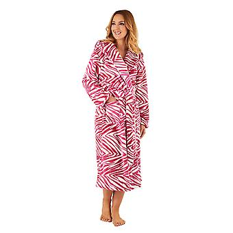 Slenderella GL8740 Women's Raspberry Pink Zebra Print Robe Long Sleeve Dressing Gown