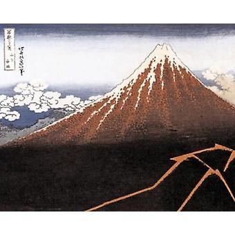 Hokusai - Black Mt Fuji Poster Poster Print