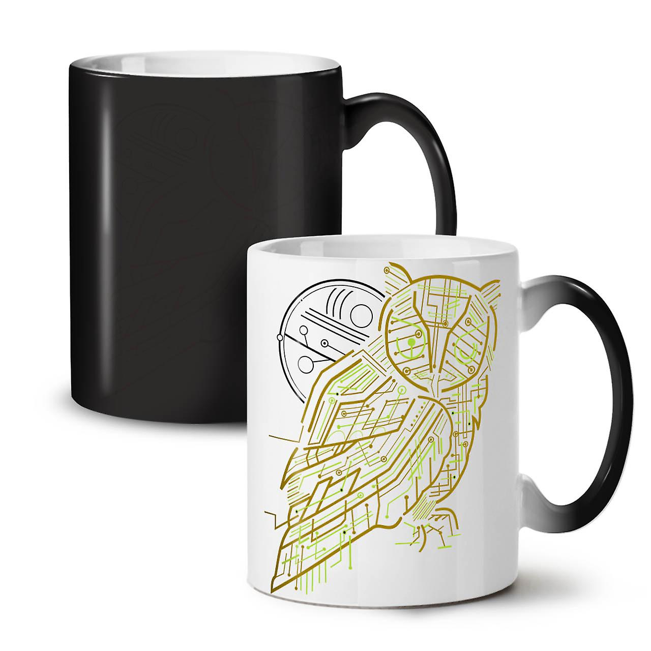 Nature Owl System Animal NEW Black Colour Changing Tea Coffee Ceramic Mug 11 oz | Wellcoda