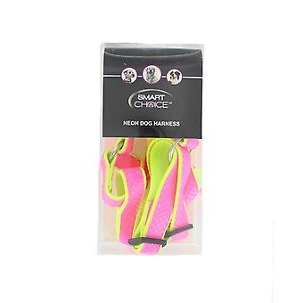 Smart Choice Medium Neon justerbar hund sele - Pink & gul
