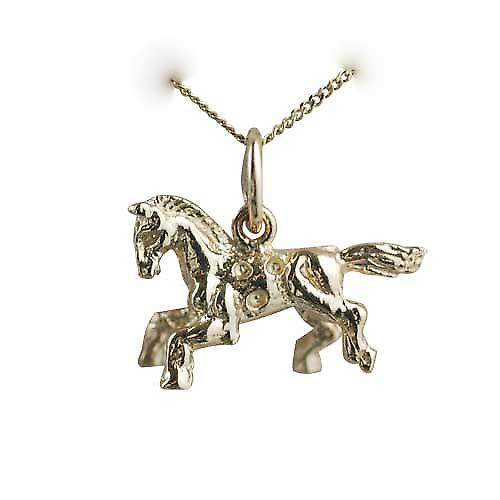 9ct Gold 11x17mm fair ground horse Charm with a curb chain