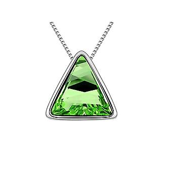 Womens Triangle Pendant Necklace Green Stone Encrusted Mix & Match Jewellery