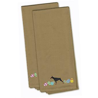 Doberman Pinscher Easter Tan Embroidered Kitchen Towel Set of 2