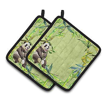 Carolines Treasures  CK1696PTHD Panda Bear and Bamboo Pair of Pot Holders