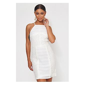 The Fashion Bible Isla White Lace Bodycon Dress