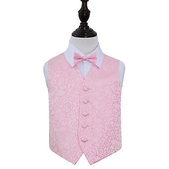 Baby Pink Swirl Wedding Waistcoat & Bow Tie Set for Boys