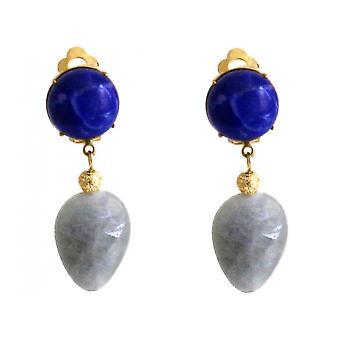 Gemshine - Damen - Ohrringe - Ohrclips - Vergoldet - Aquamarin - Lapis Lazuli - Blau - TROPFEN - 4 cm