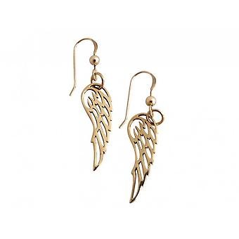 Gemshine - ladies - earrings - WINGS - 925 Silver - gold plated - 3 cm