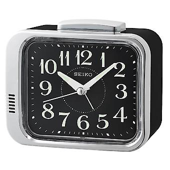 Seiko QHK049A Bedside Bell Alarm Clock Black with Black Dial