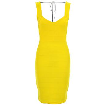 Damer Celeb Charlotte Bandage ribbad Backless gula Bodycon sexig klänning
