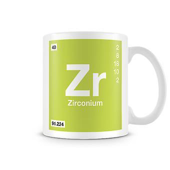 Scientific Printed Mug Featuring Element Symbol 040 Zr - Zirconium