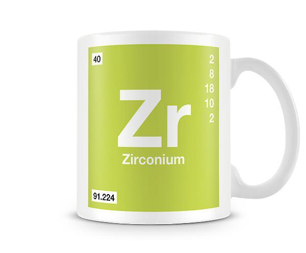 Vitenskapelige trykte krus med Element Symbol 040 Zr - zirkonium