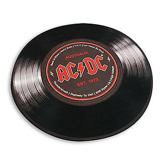AC/DC XL carpet round vinyl black, 100% polyester with cotton trim, with the back of the pimples.
