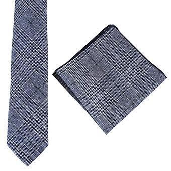 Knightsbridge Neckwear Prince of Wales Check Tie and Pocket Square Set - Navy/Green