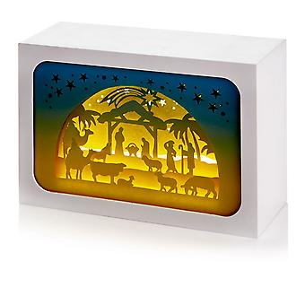 TRIXES 16cm LED Xmas Nativity Scene Decoration Rectangular Cuboid