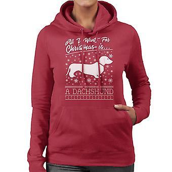 All I Want For Christmas Is een teckel gebreid patroon vrouwen Hooded Sweatshirt