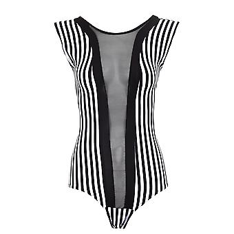 Ladies Bodysuit Long Sleeve Sleeveless Mesh Black White Stripe Leotard