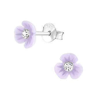 Blume - 925 Sterling Silber Crystal Ohrstecker - W37893x