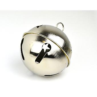 Silver 80mm Jumbo Jingle Bell with Star Cut-outs | Craft Bells | Arts & Crafts