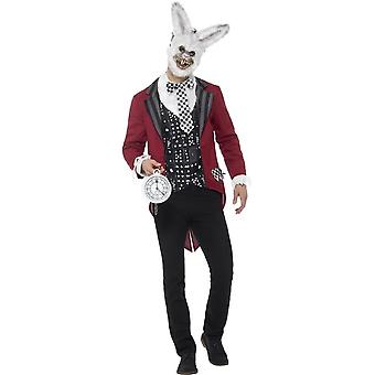Deluxe White Rabbit Costume, Red, with Jacket, Mock Shirt, EVA Mask & Pocket Watch