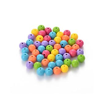Packet 50+ Mixed Acrylic 8mm Plain Round Beads HA25150