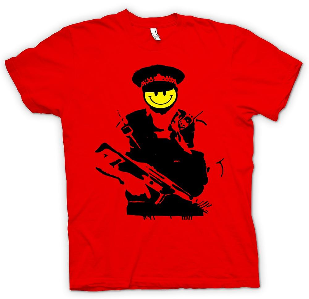 Herren T-Shirt - Banksy - Happy Smiley - Kupfer - Graffiti