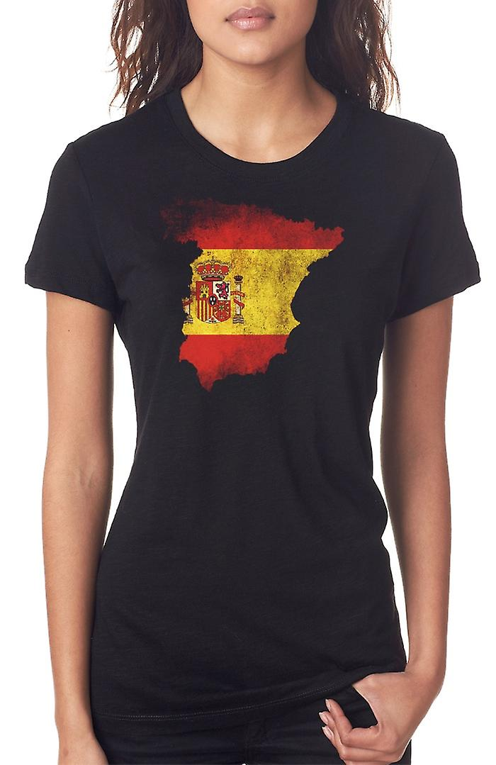 Spanish Spain Flag Map Ladies T Shirt