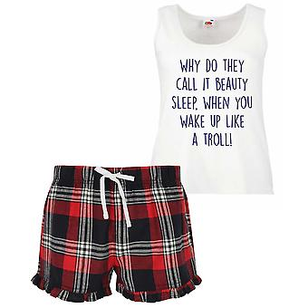 Why Do They Call It Beauty Sleep When You Wake Up Like A Troll Pyjamas Ladies Tartan Frill Short Set