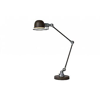 Lucide Honore Industrial Round Metal Rust Brown And Grey Desk Lamp