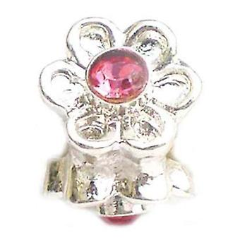 TOC BEADZ Pink Flower 9mm Crystal Slide-On Off Bead