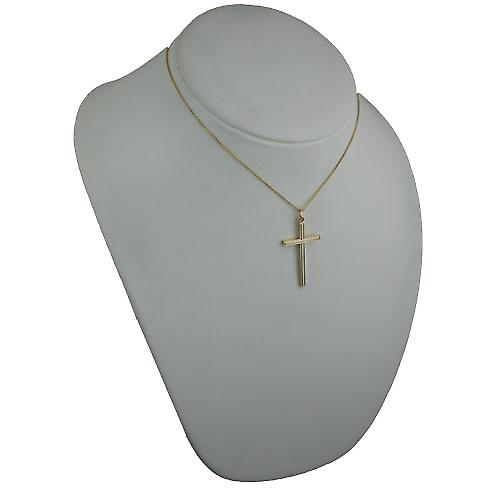 9ct Gold 40x24mm engine turned line border solid block Cross with a spiga Chain 16 inches Only Suitable for Children