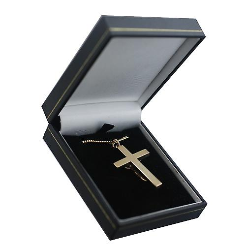 9ct Gold 40x25mm solid block Crucifix Cross with a curb Chain 16 inches Only Suitable for Youths