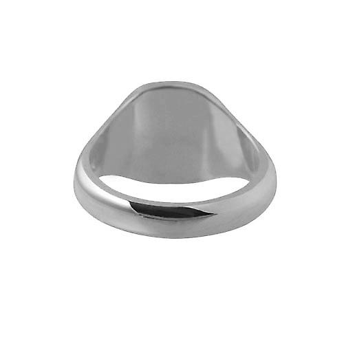 Platinum 950 14x13mm solid plain cushion Signet Ring Size S