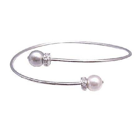 Affordable Wedding Silver Cuff Swarovski White & Grey Pearls Bracelet