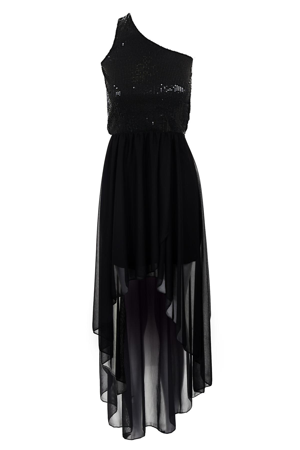 Ladies Black Sequin One Shoulder FishTail High Low Chiffon Women's Dress