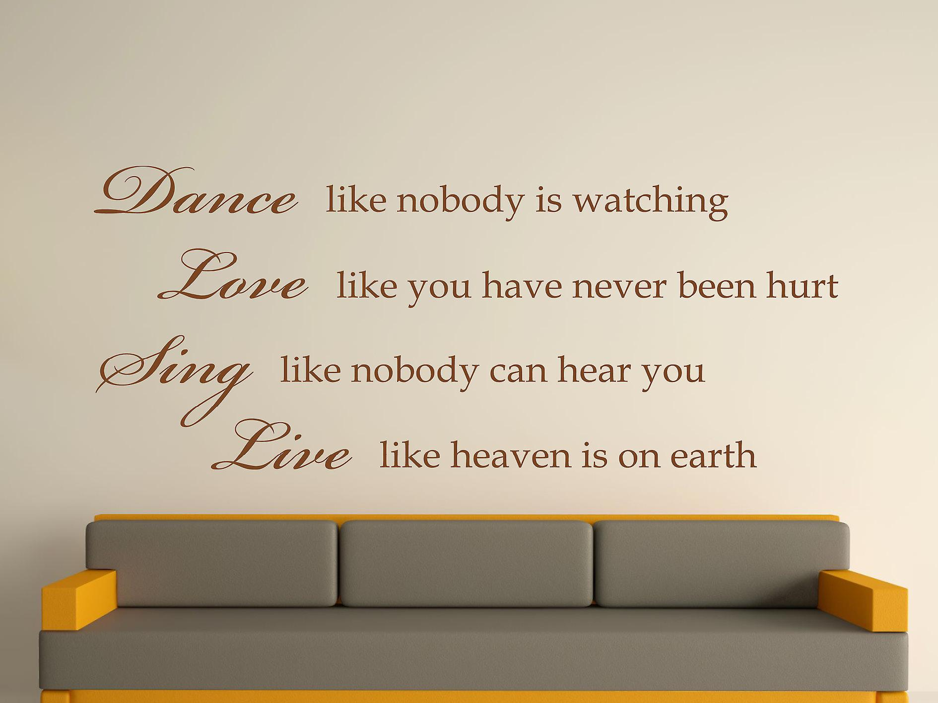 Dance Like Nobody Is Watching Wall Art Sticker - Brown