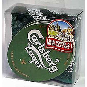 Carlsberg Bar Towel and 10 Beermats (pp)