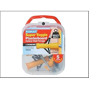 Plasplugs Stc S306 Super Toggle Cavity Anchors & Screws (5)