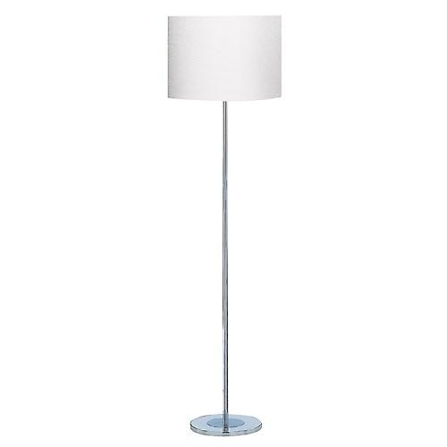 Searchlight 7550CC Chrome Floor Lamp Modern Round Base With White Shade