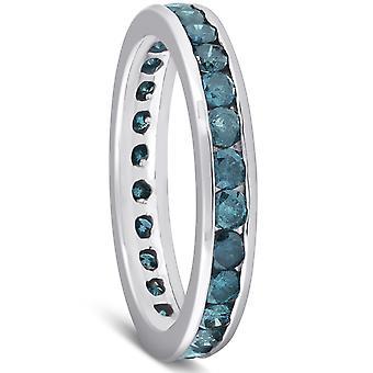 1 1 / 2ct sininen timantti kanava asettaa ikuisuuden sormus 14K valkokulta