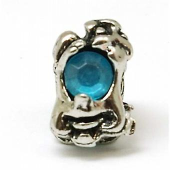 TOC BEADZ Blue Crystal Goblin 7mm Slide-on Charm Bead