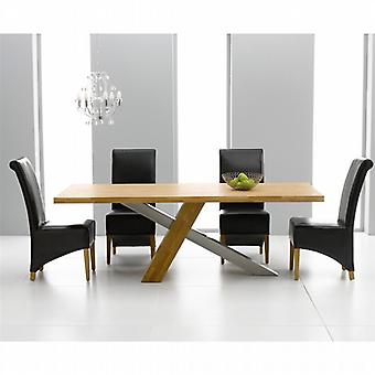 Montana 1.8 Oak & Steel Dining Set With 6 Black Bromley Chairs