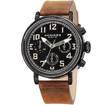 Akribos XXIV AKS191028BKBR Men's Brown Chronograph Date Leather Strap Watch