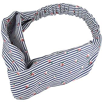 Molly & Rose Twist Knot Head Wrap Headband Navy Stripe/Pink Flower